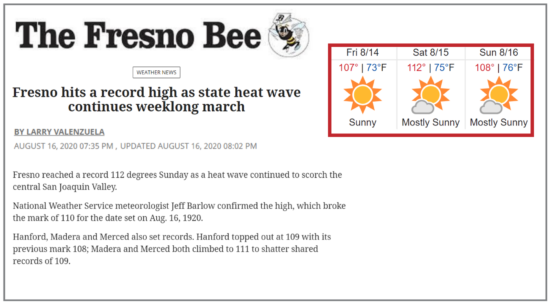 News article describing the record-breaking heat in California's Central Valley - reaching 112 one day