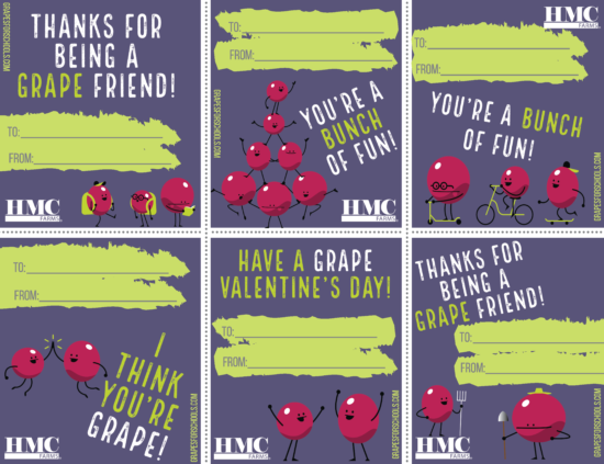 "6 valentines featuring grape characters with phrases like ""I think you're grape"" and ""Thanks for being a grape friend"""